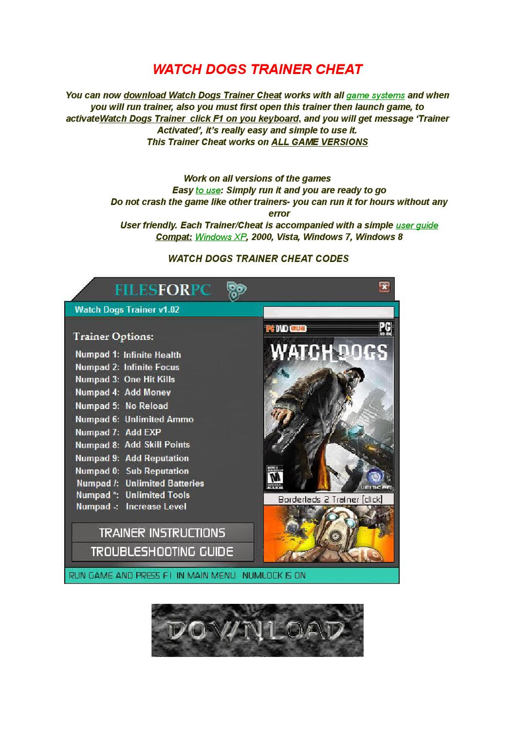 Watch dogs pc trainer cheat codes