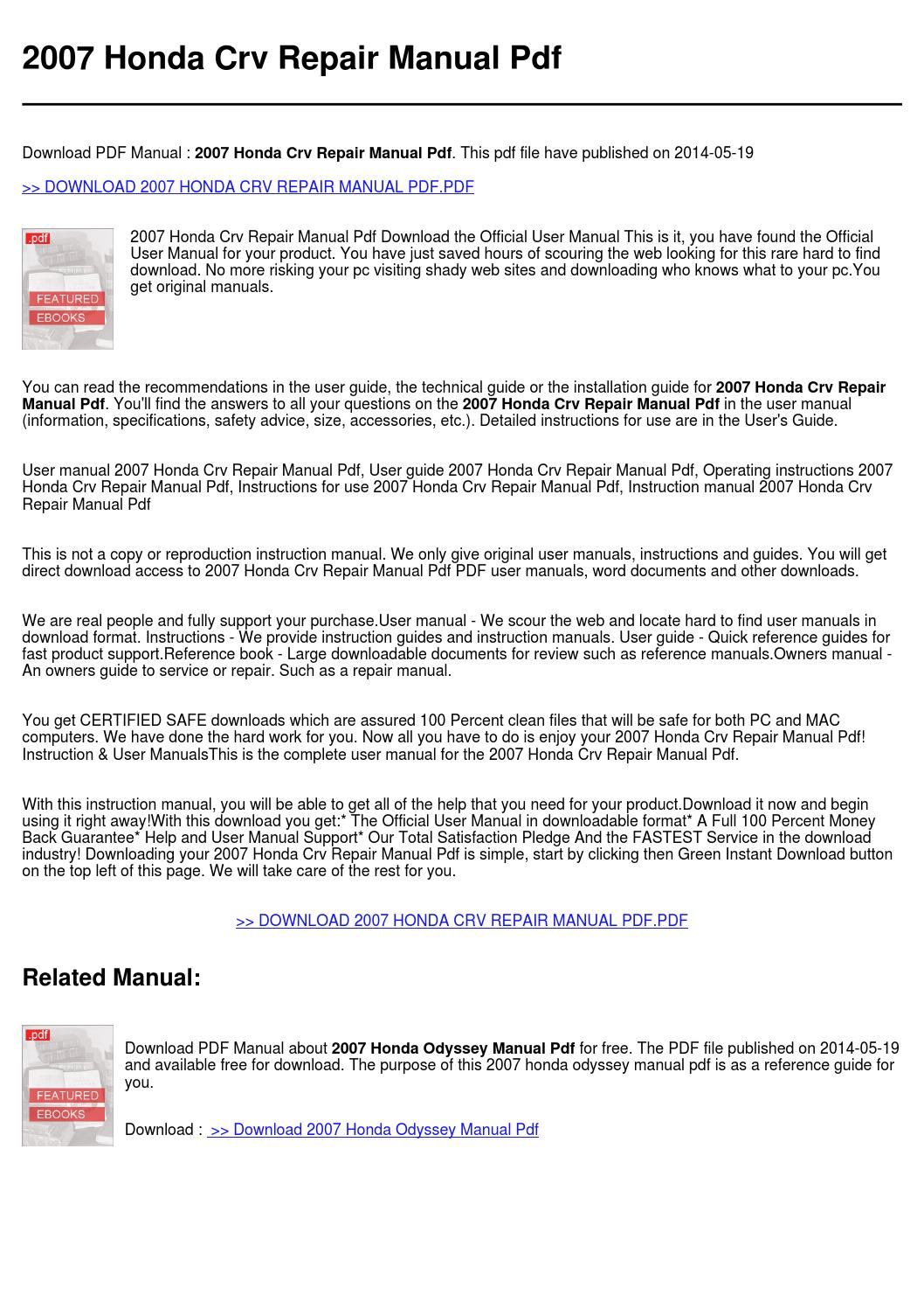 ... 2007 honda crv repair manual pdf by rossa utrech issuu rh issuu com  2009 Honda CR ...