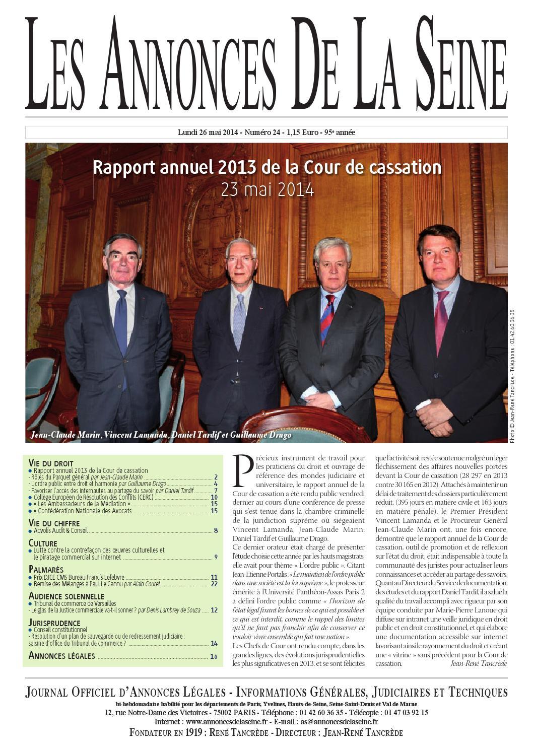 Edition Du Lundi 26 Mai 2014 By Annonces De La Seine Issuu