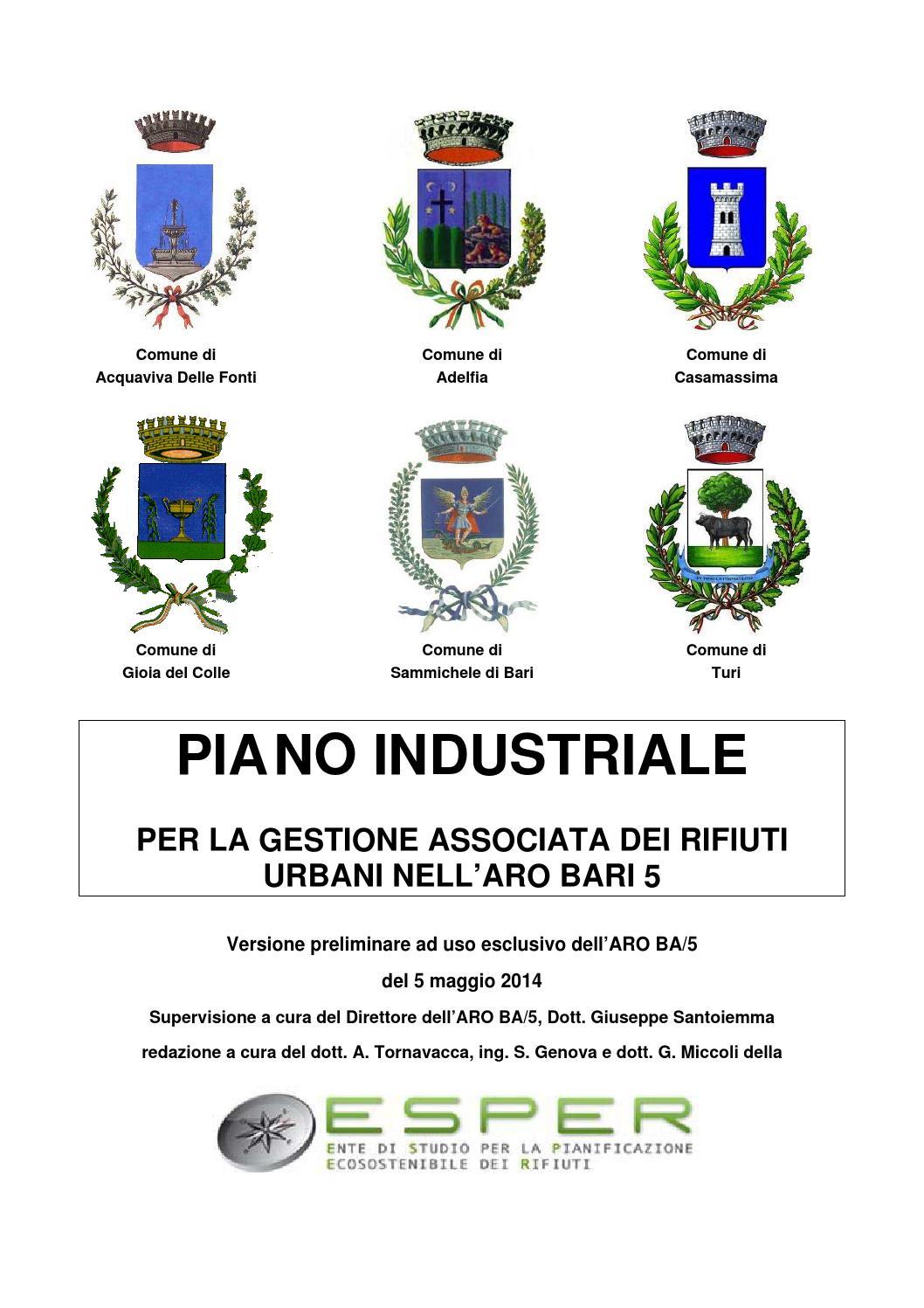 Raccolta Rifiuti Ingombranti Roma Calendario 2020 Municipi Dispari.Piano Industriale Aro Ba5 Revisione 5 5 2014 By Pd