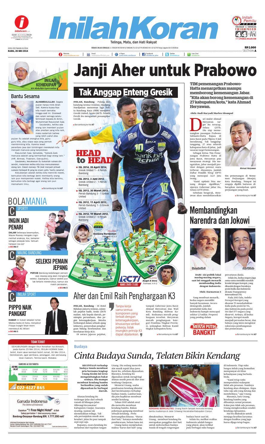 Wajib Menang Derby Bandung By Inilah Koran Issuu Produk Ukm Bumn Shifudo Bakso Ikan 500g Free Ongkir Depok Ampamp Jakarta Janji Aher Untuk Prabowo