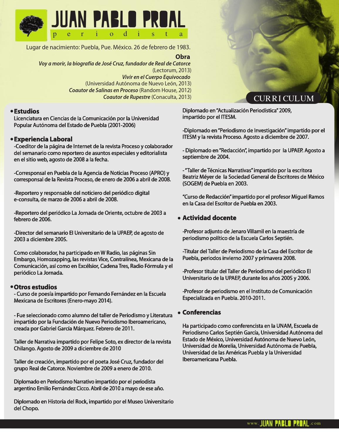 Curriculum Juan Pablo Proal by Jorge Cruz - issuu