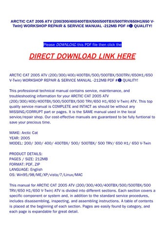 2005 arctic cat 650 v2 manual
