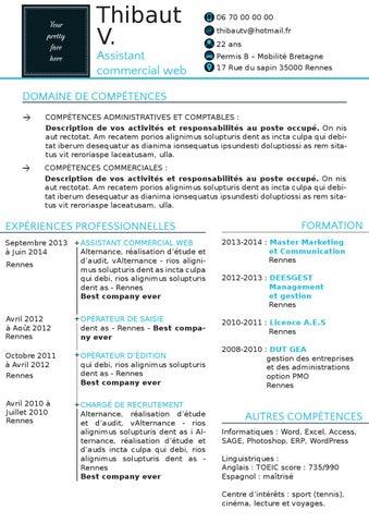 Cv De Thibault Assistant Commercial Web Après By Karine