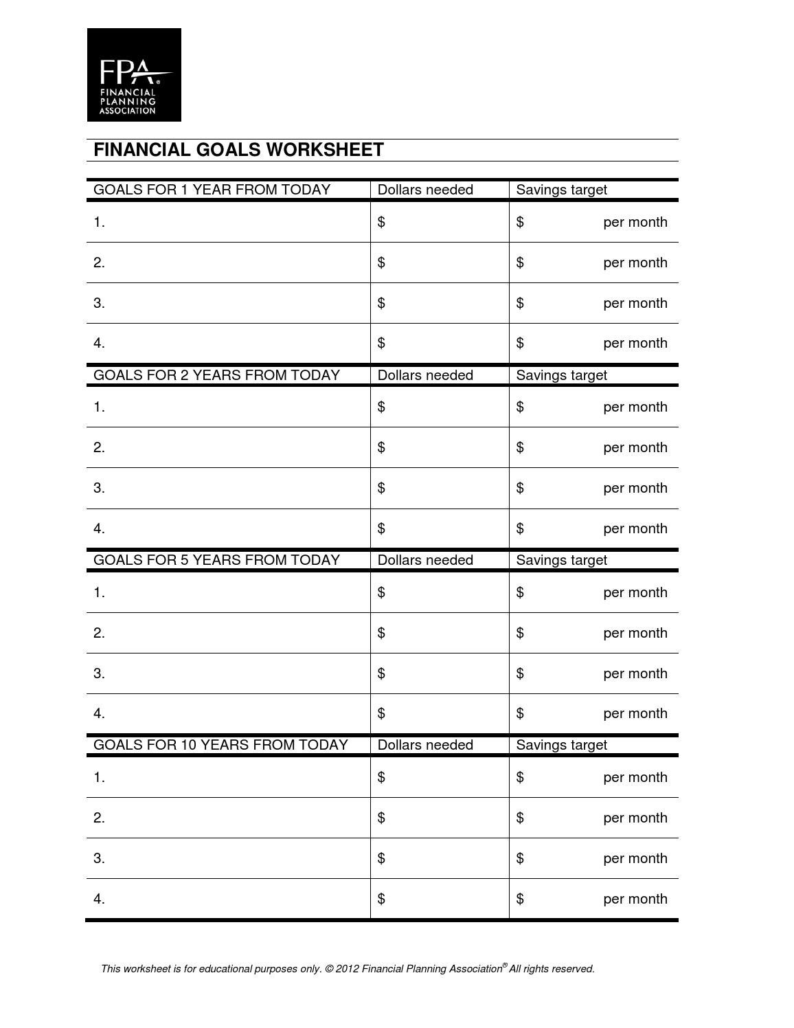 Goals Worksheet By Chris Storace Issuu