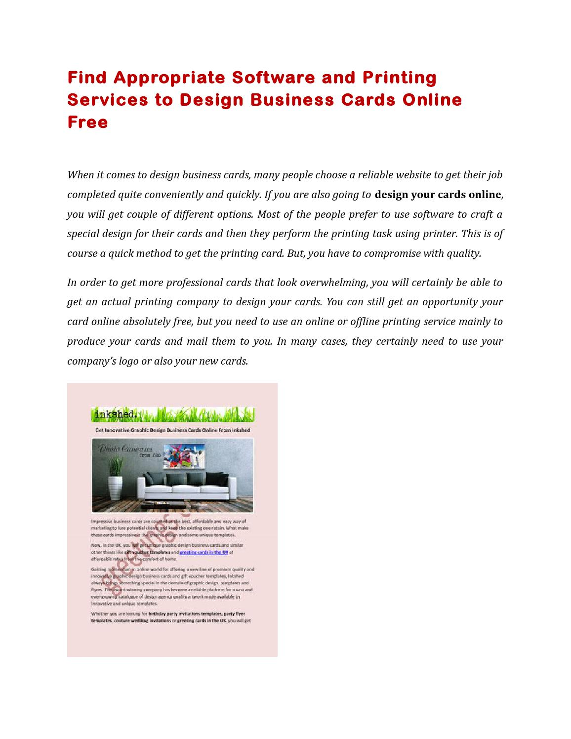 Find appropriate software and printing services to design business ...