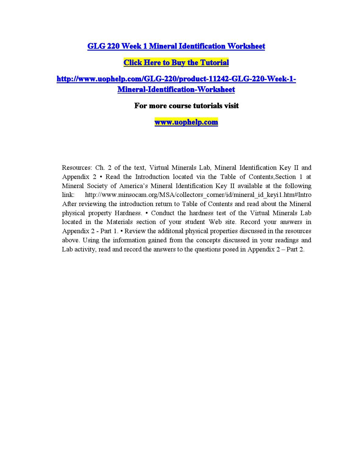 Glg 220 week 1 mineral identification worksheet by drepork issuu