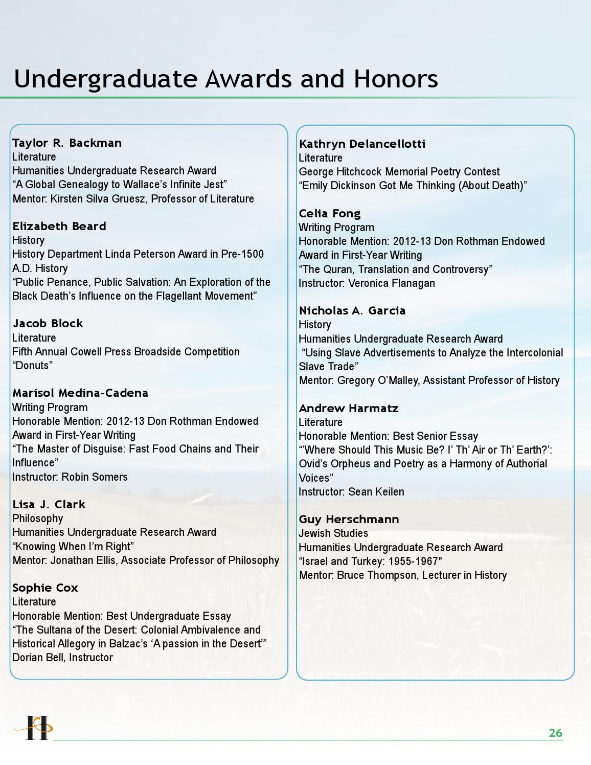 Humanities Perspectives Spring Awards Issue by Humanities at