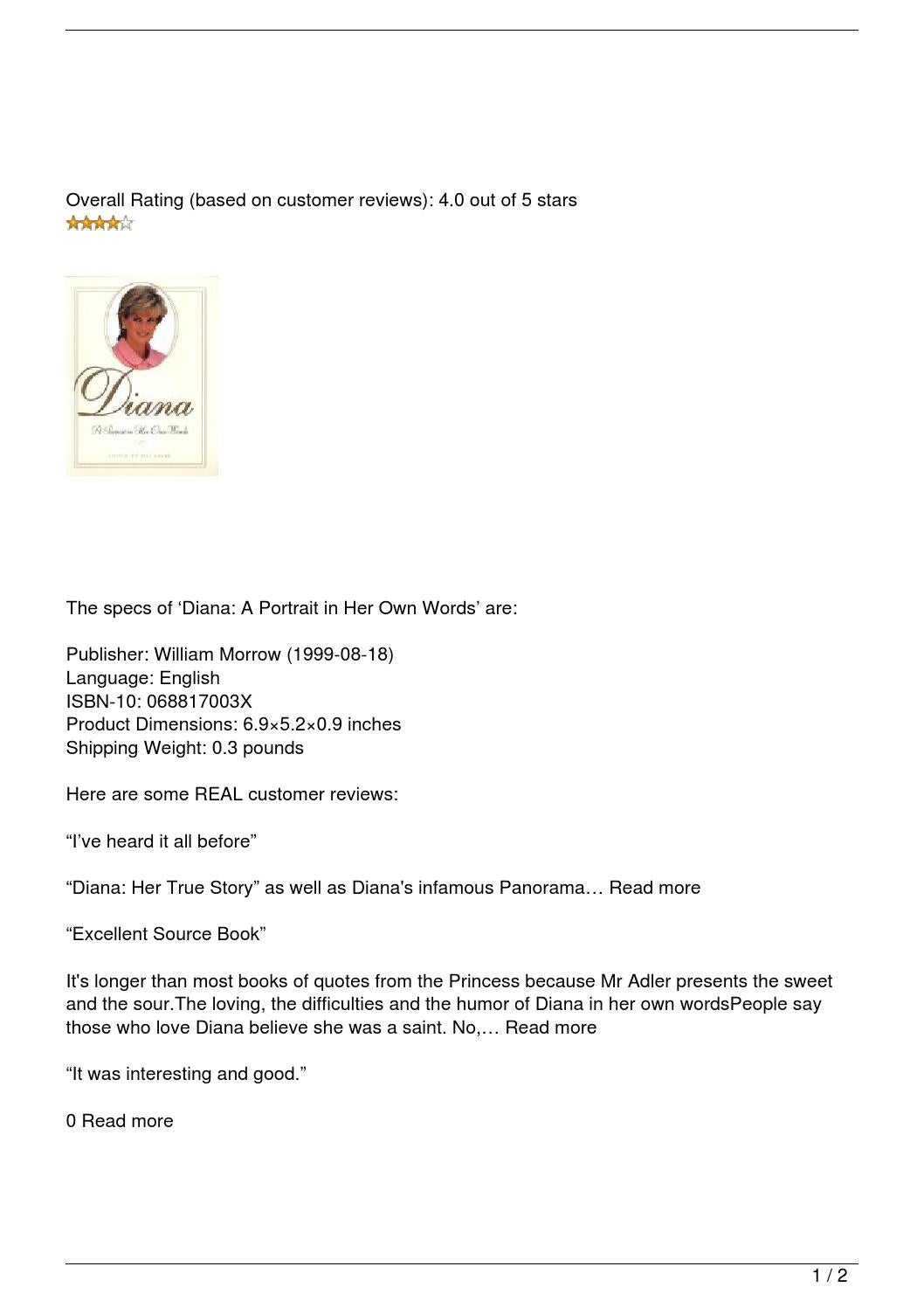 Diana A Portrait In Her Own Words Review By Oscar Issuu