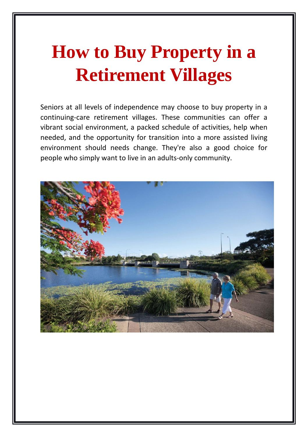How to Buy Property in a Retirement Community