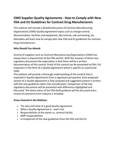 Cmo Supplier Quality Agreements By Compliance Online Issuu