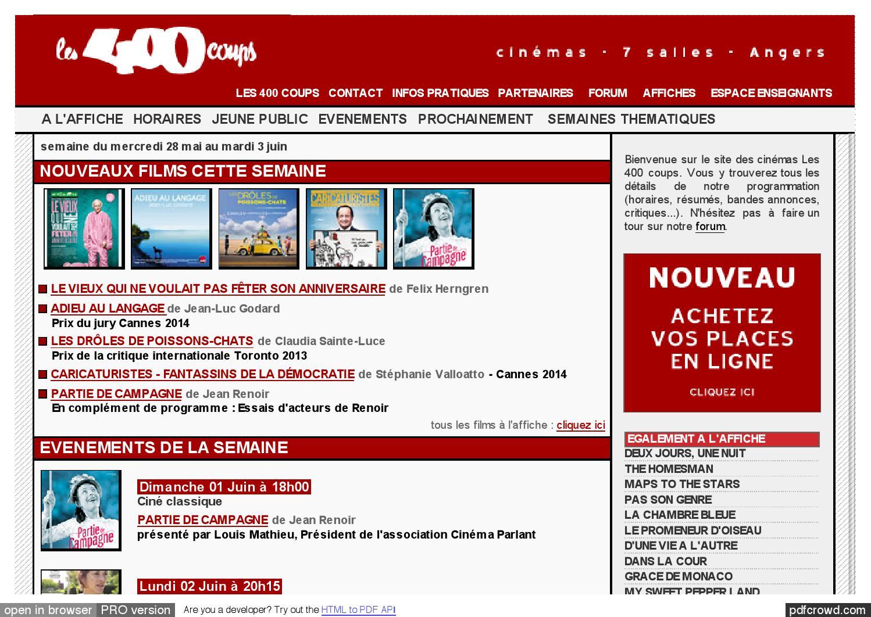 Au 2014 by association des cin mas de l 39 ouest pour la recherche issuu - Horaires 400 coups angers ...