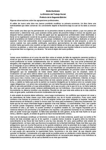 Durkheim, emile la división del trabajo social by Escuela de ...