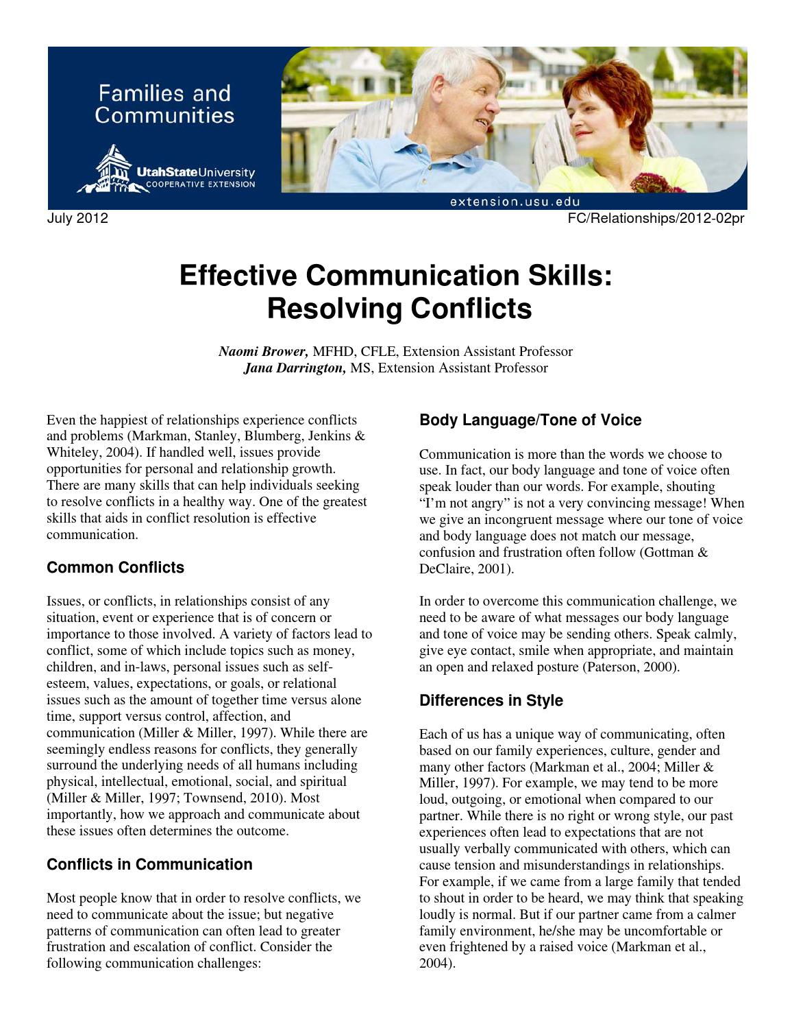 Effective Communication Skills: Resolving Conflicts by Utah State