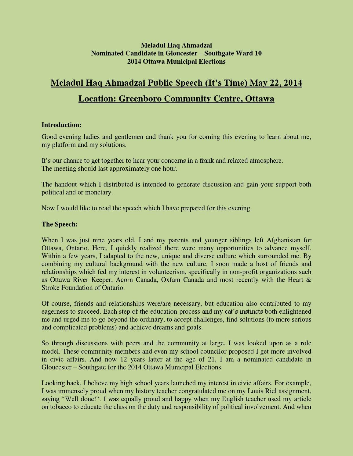 Meladul Haq Ahmadzai - Public Speech (It's Time) May 22