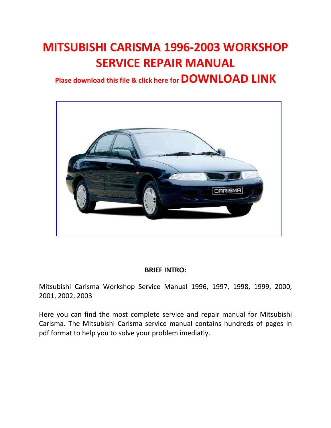 Mitsubishi Carisma 1996 2003 Workshop Service Repair Manual By Pam Per Issuu