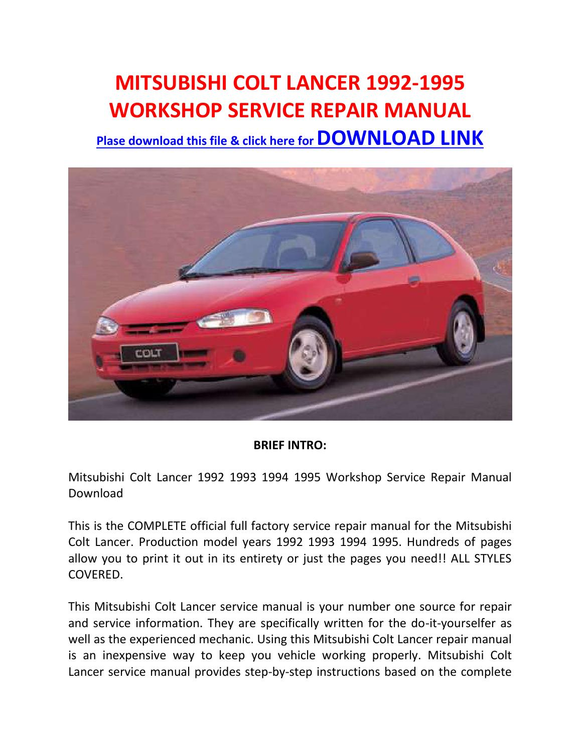 Mitsubishi colt lancer 1992 1995 workshop service repair manual by Pam Per  - issuu