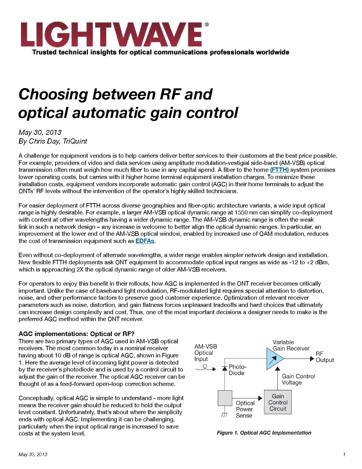 Choosing Between RF and Optical AGC for your Cable Design by Mark