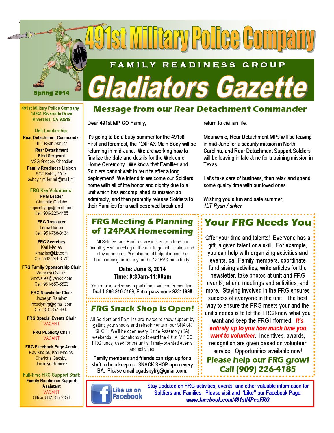 2014 spring newsletter (491st mp co) by Ray Macias - issuu