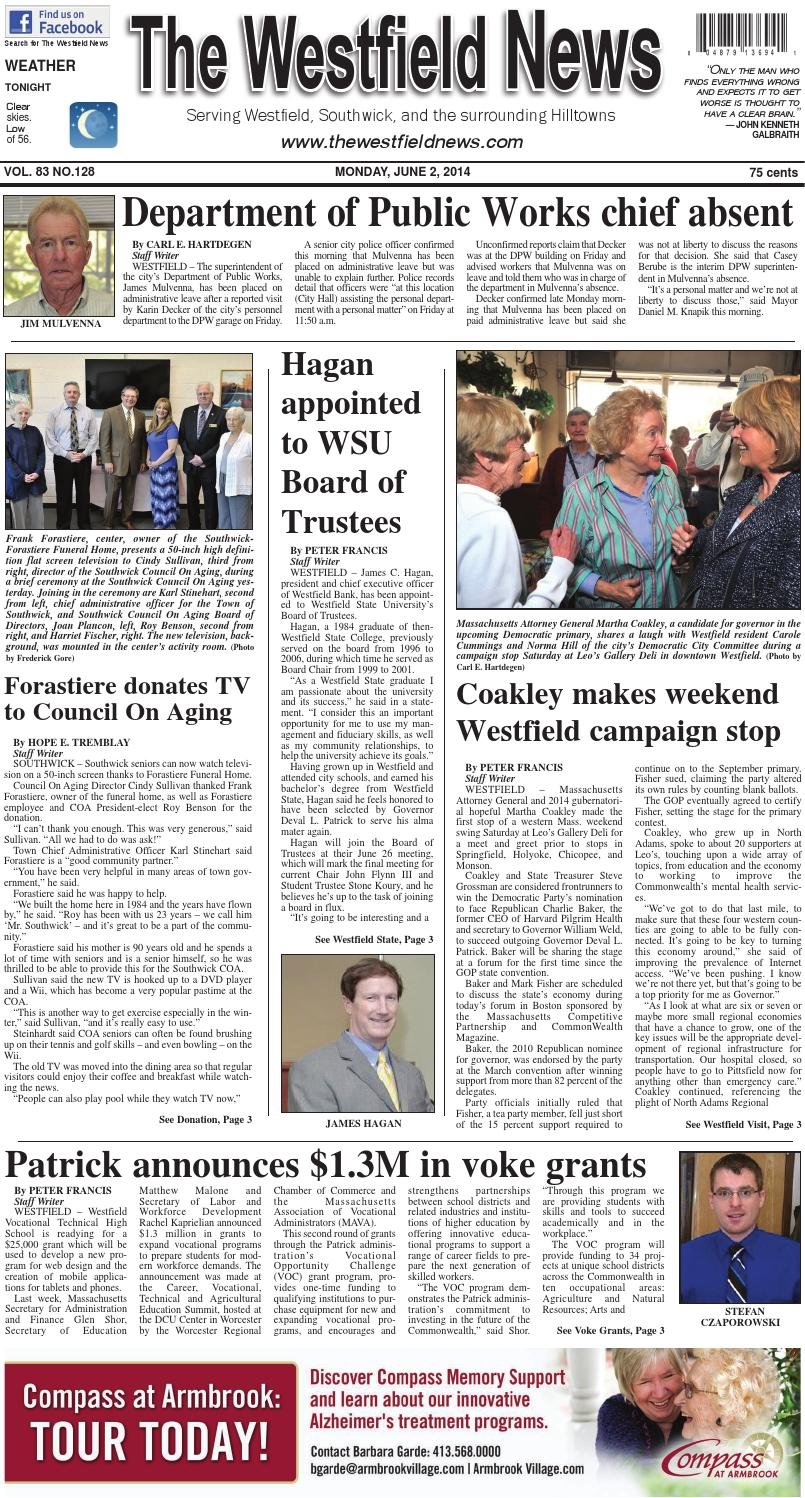 Monday, June 2, 2014 by The Westfield News - issuu