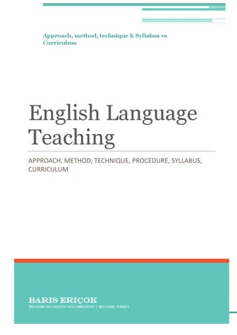 Some Terms In ELT Approach Method Technique Syllabus And