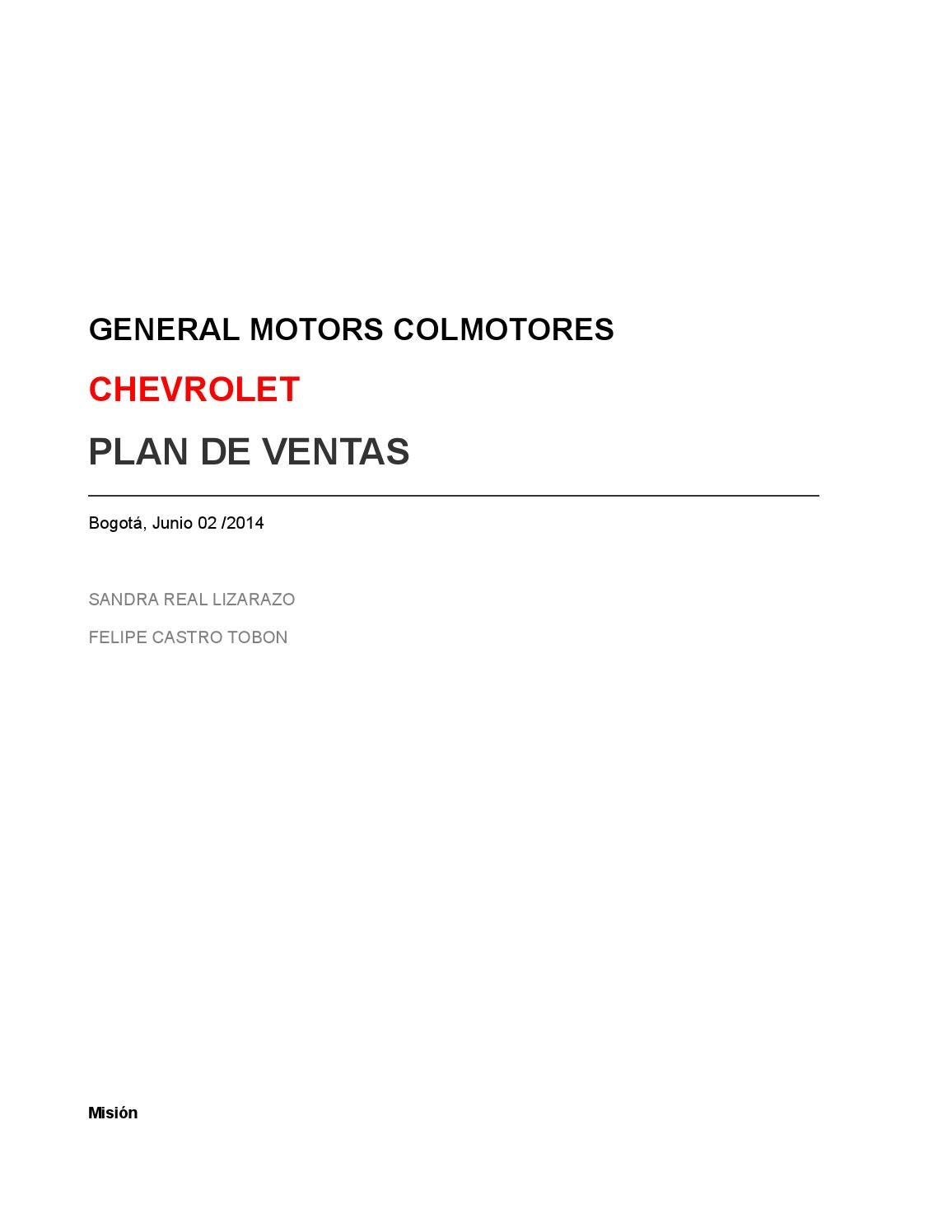Plan Estrategico De Ventas Chevrolet By Sreal86 Issuu