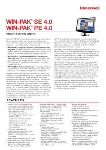 WIN-PAK SE 4 0 / WIN-PAK PE 4 0 Datasheet by S P Securiton