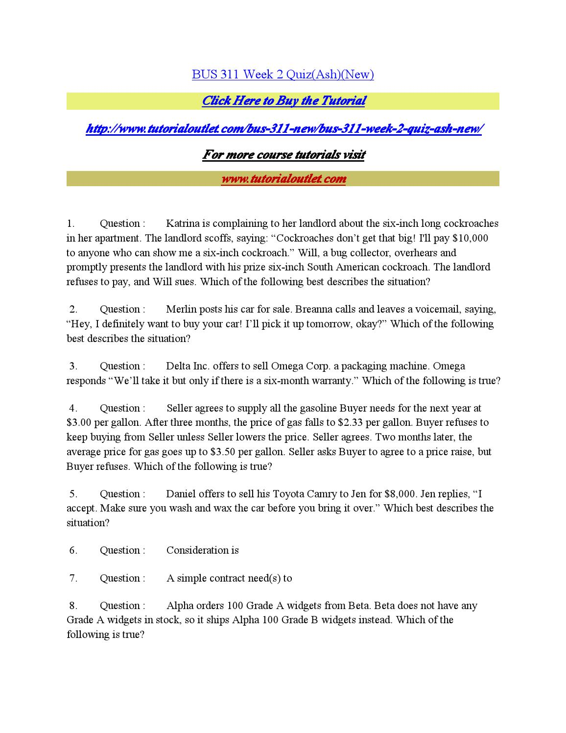 Bus 311 week 2 quiz by balu tut or61 - issuu