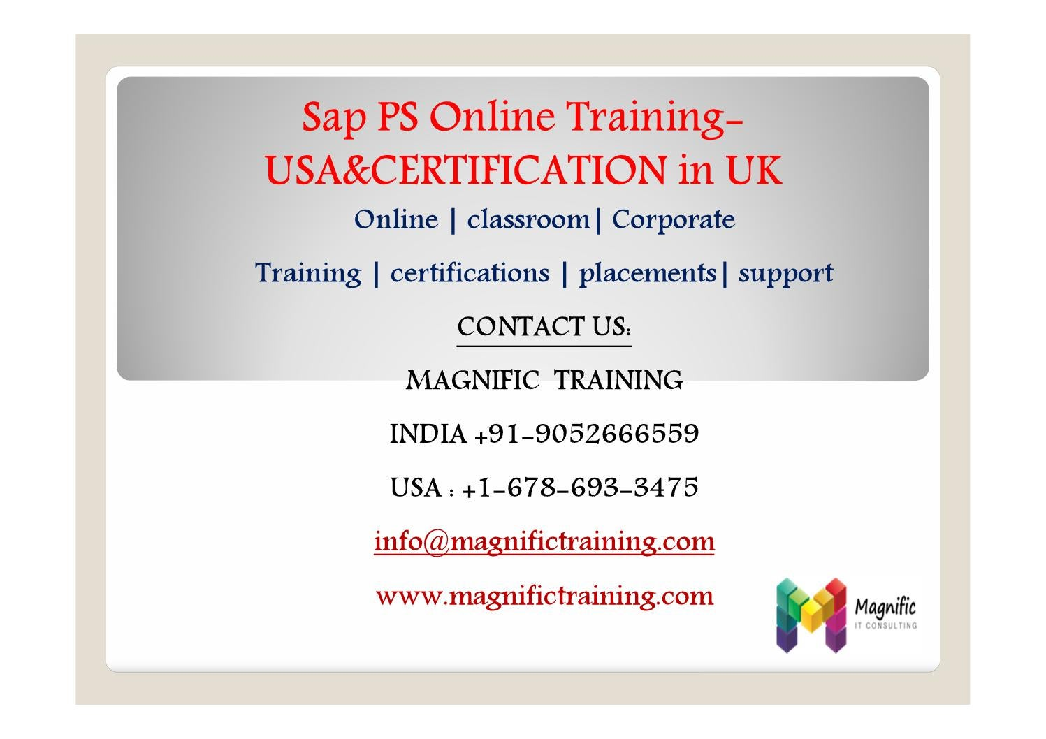 Sap Ps Online Training And Corporate Training By Magnificvs Issuu