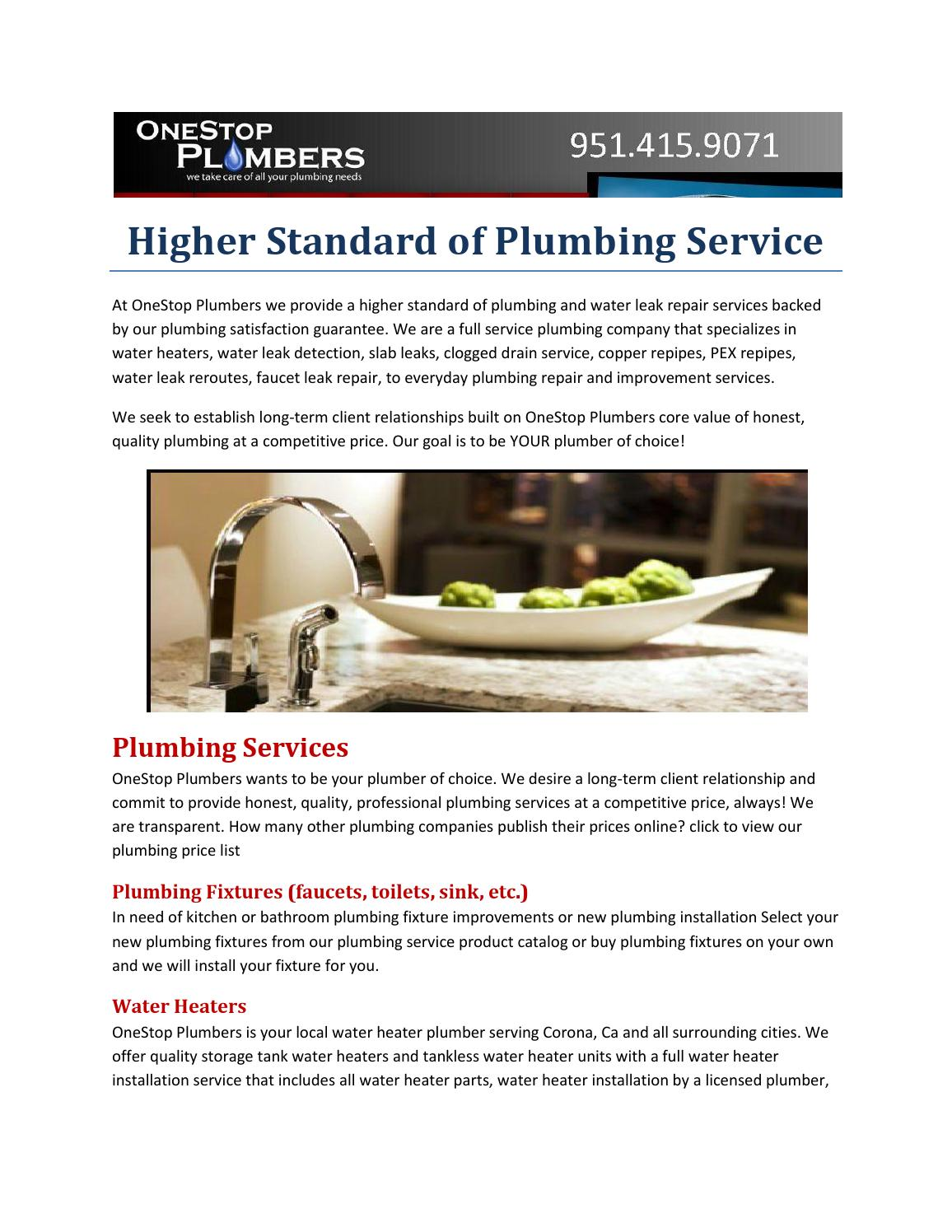 Higher standard of plumbing service by onestopplumbers - issuu