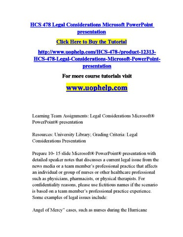 hcs 325 powerpoint presentation Here is the best resource for homework help with hcs 325 : health care   motivational methods powerpointpptx university of phoenix health care.