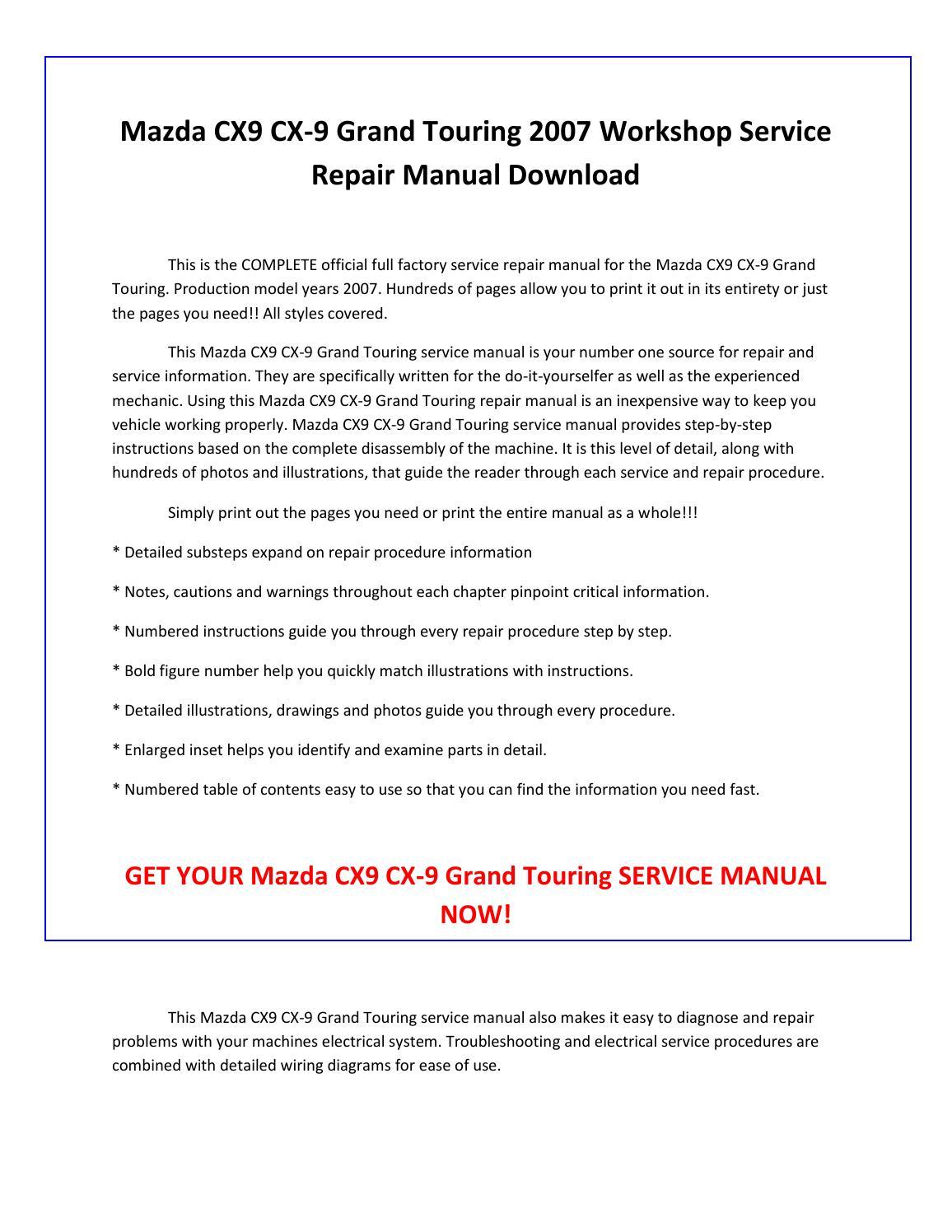 mazda cx9 cx 9 grand touring 2007 service repair manual. Black Bedroom Furniture Sets. Home Design Ideas