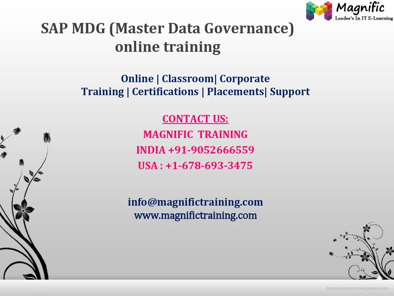 Sap mdg (master data governance) online training by magnificks - issuu