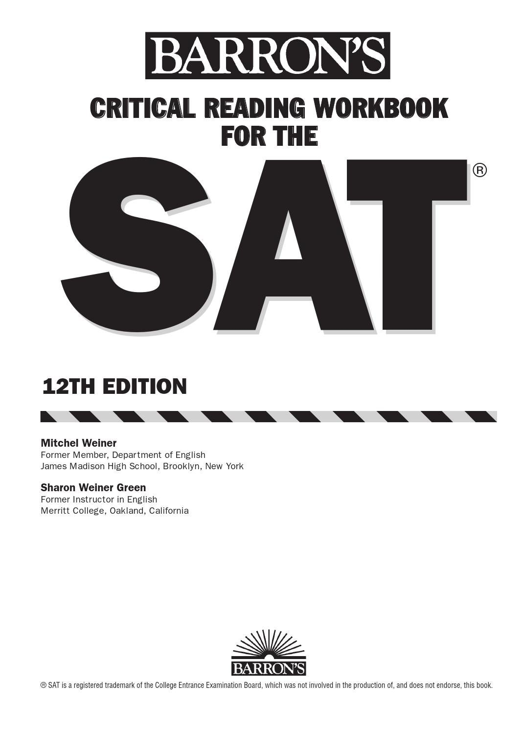 Preview barron's critical reading workbook for the new sat by ...