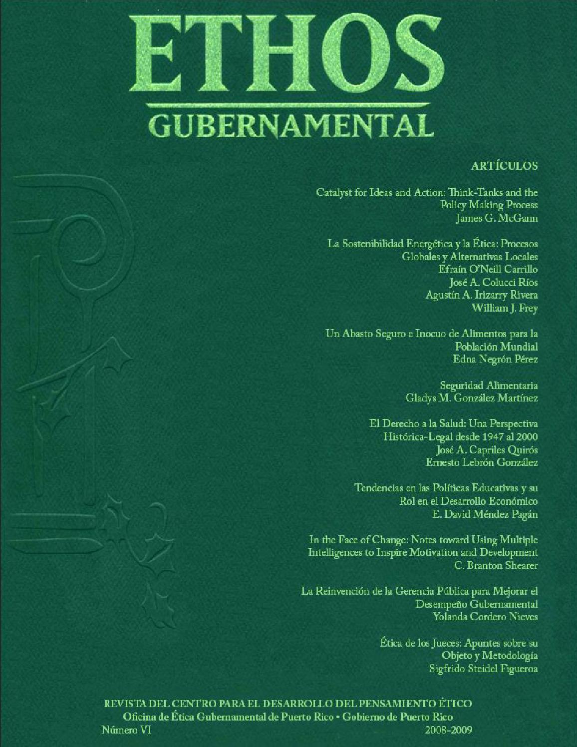 Revista Académica Ethos Gubernamental VI by Oficina de Ética ...