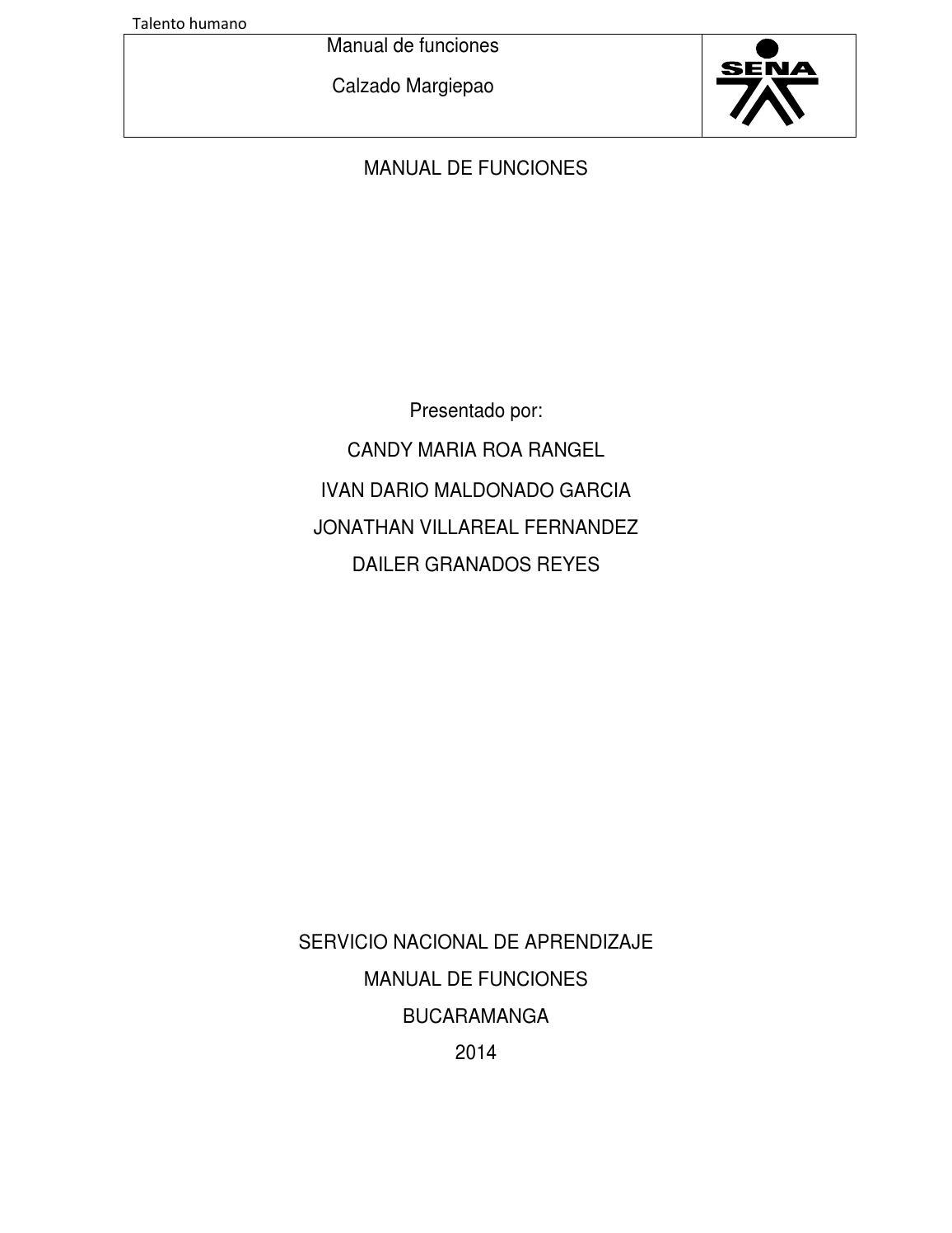 Manual de funciones zapateria margiepao by IVAN DARIO MALDONADO ...