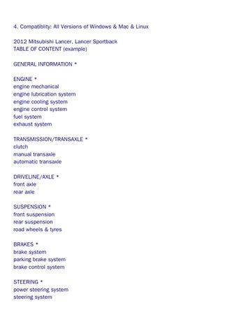 mitsubishi lancer 2012 service manual
