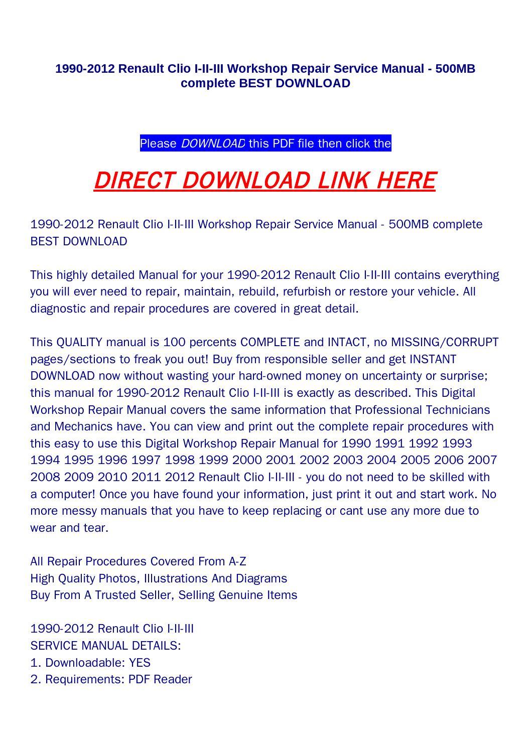 1990 2012 Renault Clio I Ii Iii Workshop Repair Service Manual 500mb Complete Best Download By Haoxie Issuu