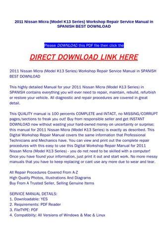 2011 nissan micra (model k13 series) workshop repair service manual