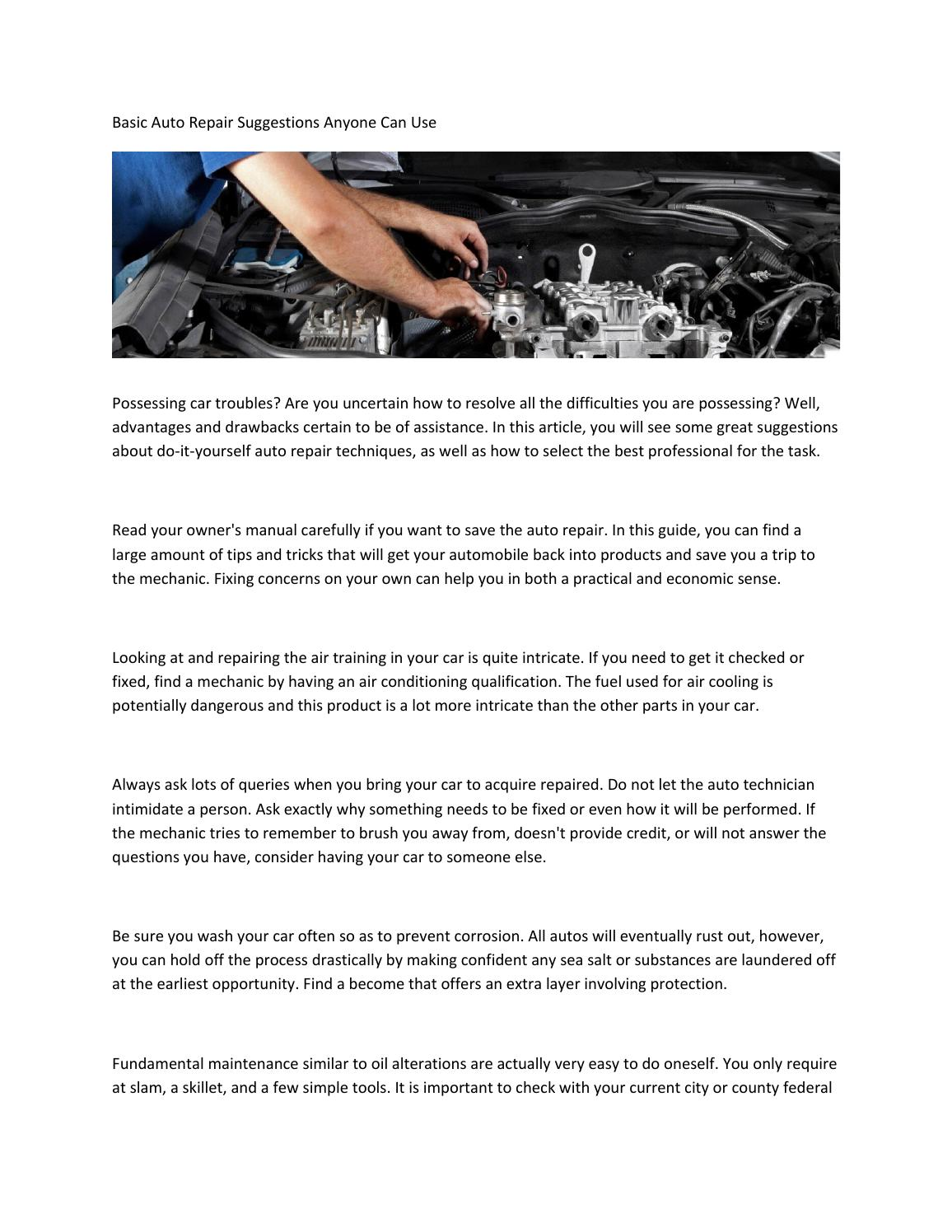 Basic Auto Repair Suggestions Anyone Can Use By Issuu Learn More At Do It Yourself Help Com