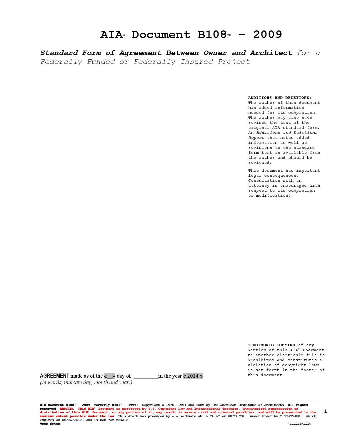 Pine Lake Mv Dwell Architect Draft Aia Contract B108 By Pine Lake
