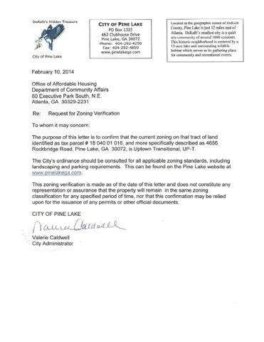 2014 Zoning Verification Letter 4656 Rockbridge Rd By Pine Lake