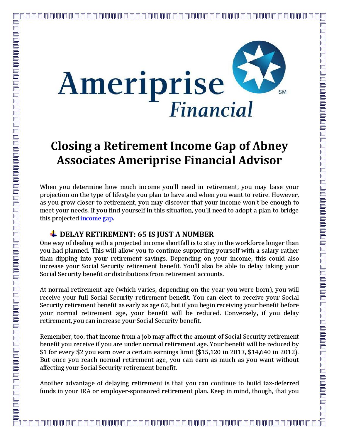 Closing a Retirement Income Gap of Abney Associates