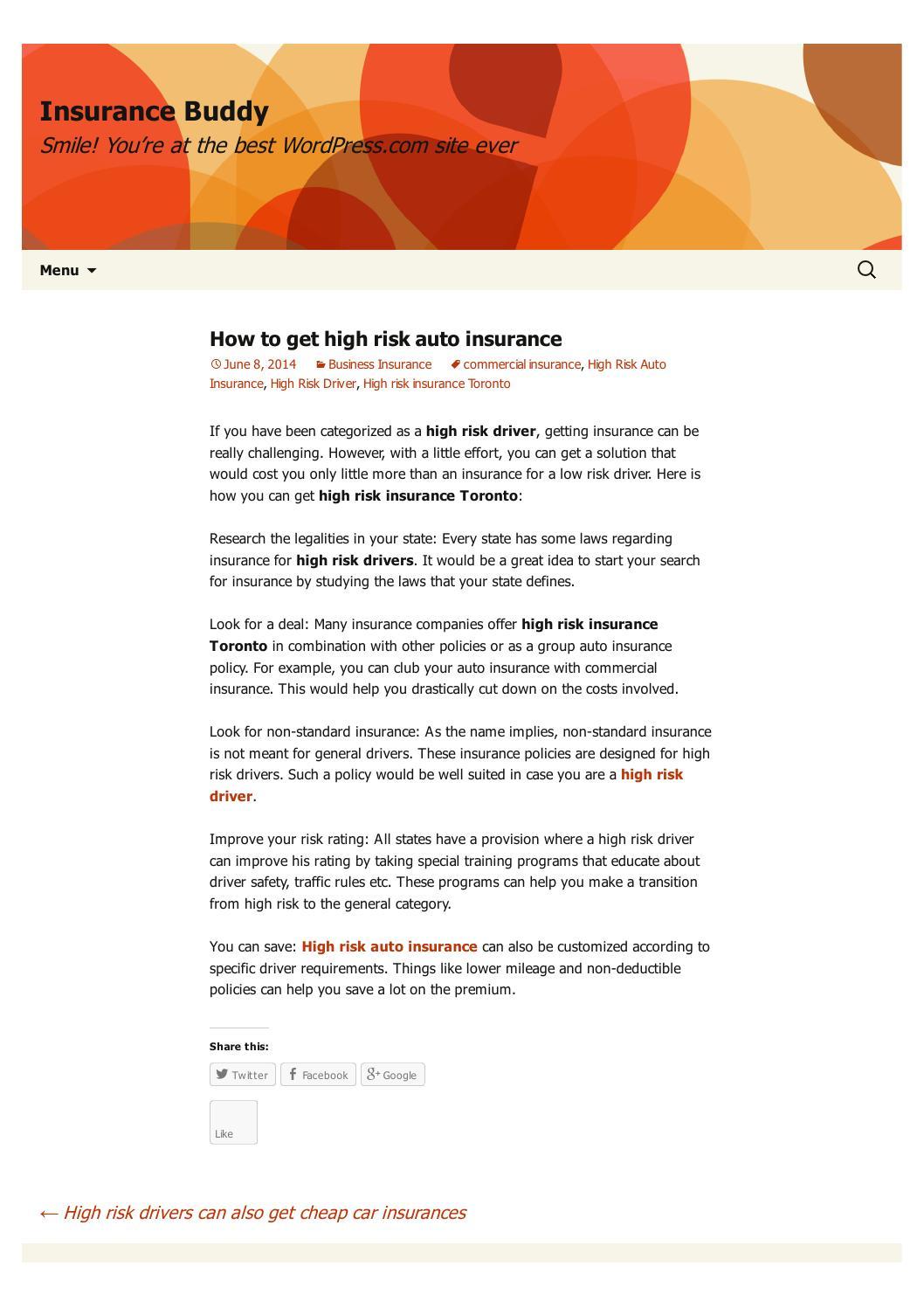 High Risk Car Insurance >> High Risk Auto Insurance High Risk Driver By Crish Mart Issuu