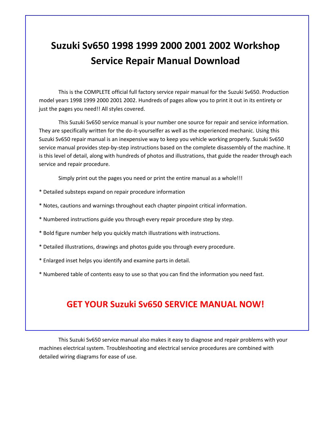 Suzuki sv650 1998 1999 2000 2001 2002 service repair manual pdf download by  sparchita3 - issuu