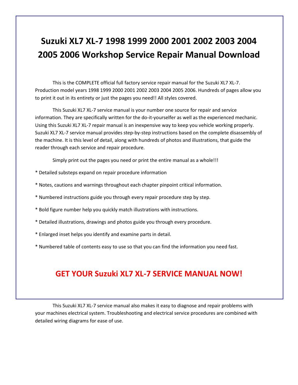 Free repair manual 2006 suzuki xl7