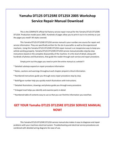 yamaha dt125 dt125re dt125x 2005 service repair manual pdf. Black Bedroom Furniture Sets. Home Design Ideas