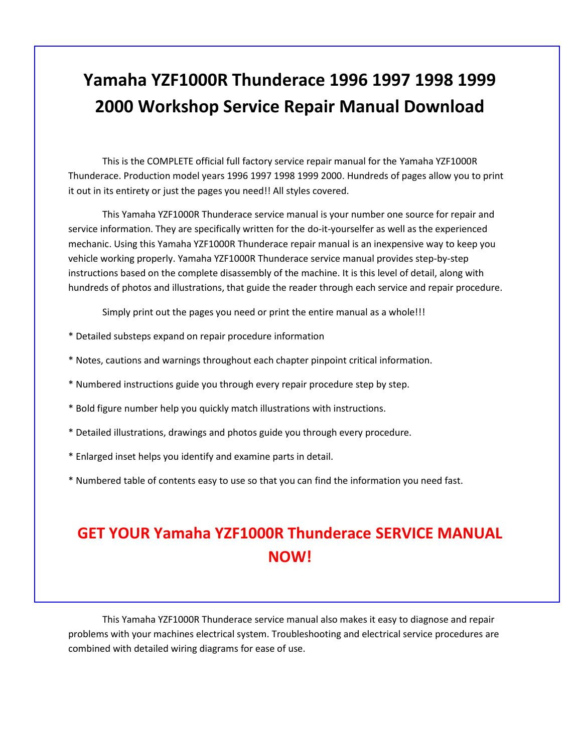 2000 yamaha r6 service manual pdf