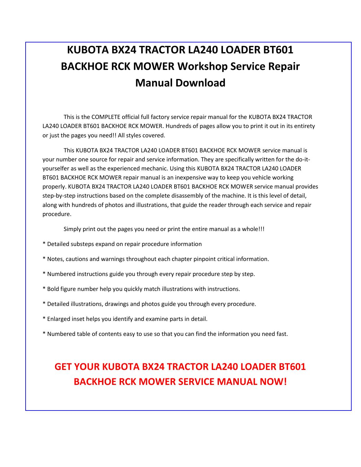 Kubota bx24 tractor la240 loader bt601 backhoe rck mower service repair  manual pdf download by sparchita3 - issuu