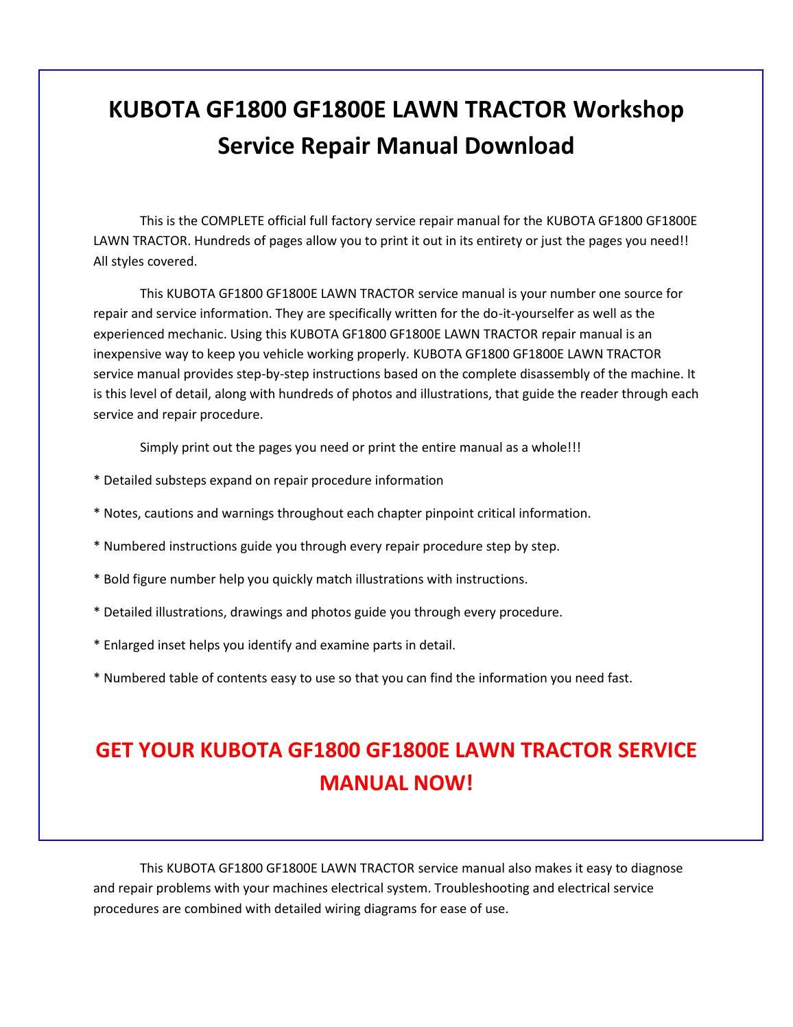 Kubota gf1800 gf1800e lawn tractor service repair manual pdf download by  sparchita3 - issuu